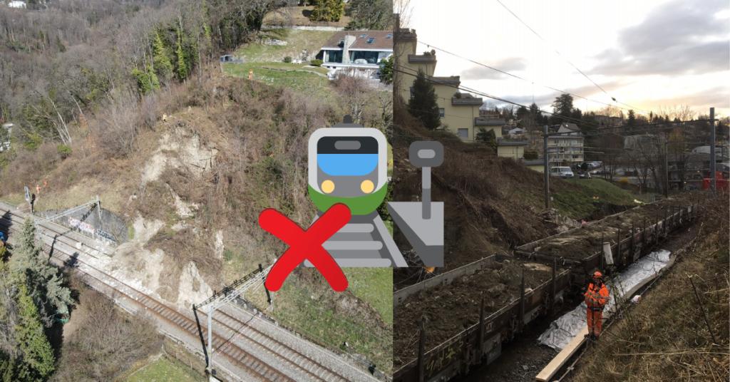 CFF : 150 m3 de terre sur les voies entre Fribourg et Lausanne